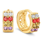 Ladies 18k white gold plated multicolored huggies earrings