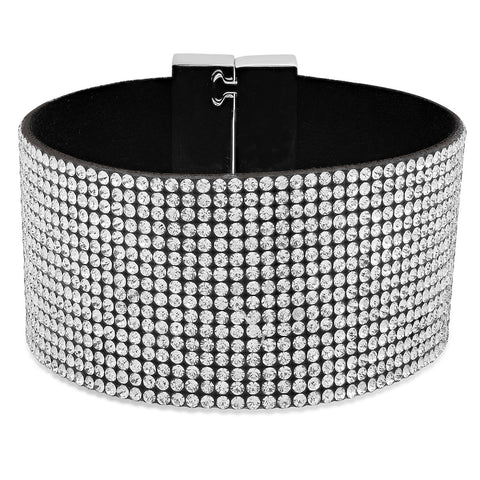 Ladies velvet cocktail bracelet with alloy clasp