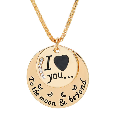 Rose Gold 'I ♥ you to the moon & beyond' Pendant