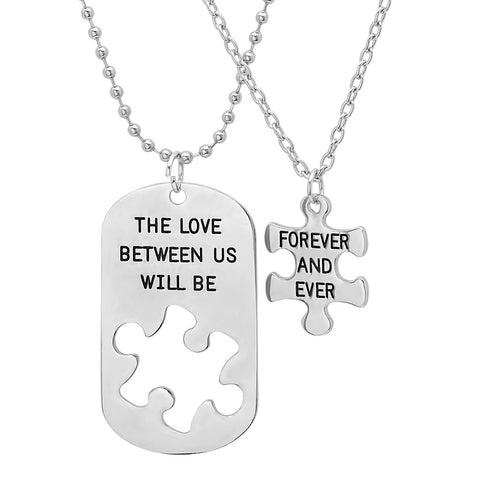 Steeltime His and Hers Dog Tag/Puzzle 2-Piece Necklace