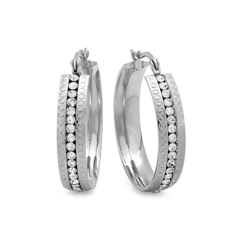 Stainless Steel Hoop Earrings with Simulated Diamonds