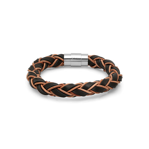 Men's Black/Orange Twisted Genuine Leather Bracelet
