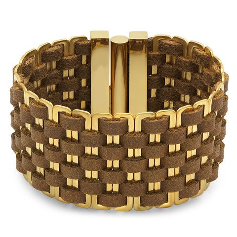 18kt Gold Plated Stainless Steel & Genuine Leather Bracelet in Brown