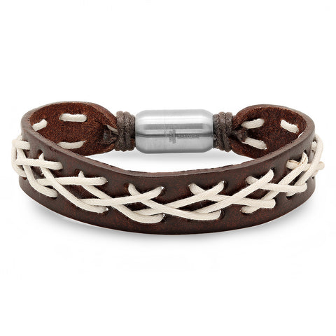 Genuine Leather Bracelet in Brown & Lace Design