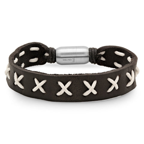 Black Genuine Leather Bracelet Cross Lace Design