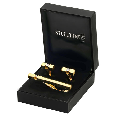 Men's 18kt Gold Plated Stainless Steel Cufflinks and Tie bar Set