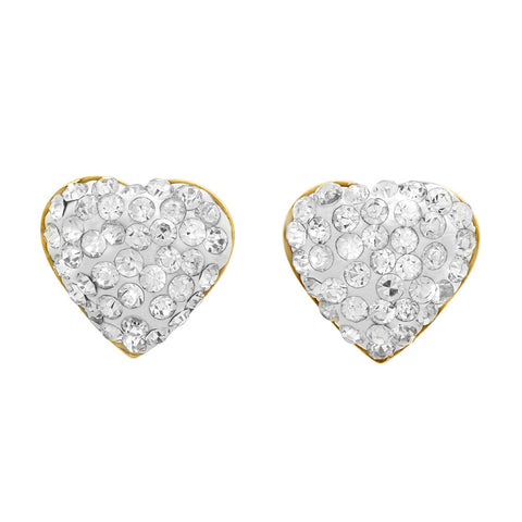 Ladies 18k Gold Plated Stainless Steel Heart Cz Earrings