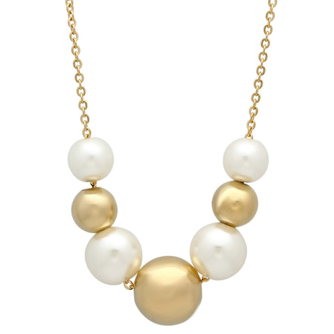 18kt Gold Plated Stainless Steel Necklace With Simulated Pearls