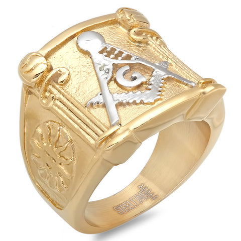Men's 18 KT Gold Plated Masonic Ring with Stainless Steel Symbol