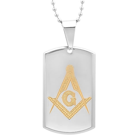 Men's Stainless Steel Two Tone Masonic Symbol Pendant