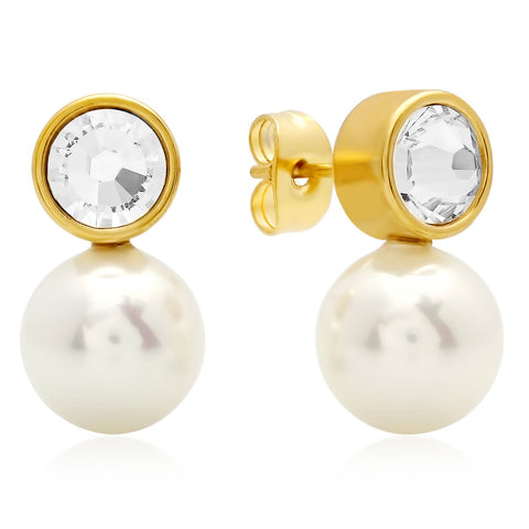 18kt Gold Plated Stainless Steel Stud Earrings with Simulated Pearl and SW Stones