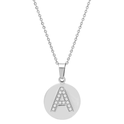 Stainless Steel CZ Initial Pendant Necklace