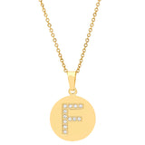 18k Gold Plated Stainless Steel CZ Initial Pendants