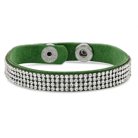 Green Fashion Bracelet With Simulated Diamonds