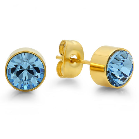18k Gold Plated Stainless Steel Birthstone (March) Earring Studs