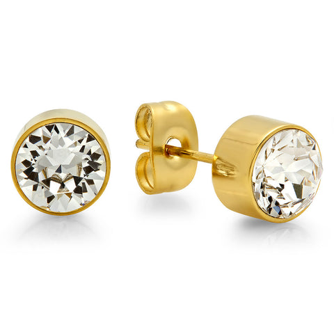 18k Gold Plated Stainless Steel Birthstone (April) Earring Studs