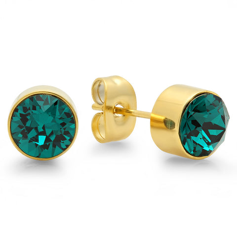 18k Gold Plated Stainless Steel Birthstone (May) Earring Studs