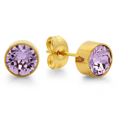 18k Gold Plated Stainless Steel Birthstone (June) Earring Studs