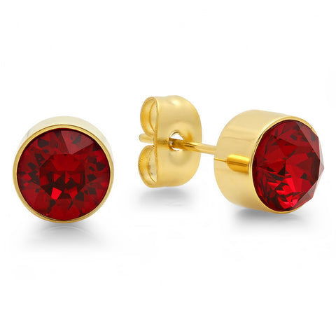 18k Gold Plated Stainless Steel Birthstone (July) Earring Studs