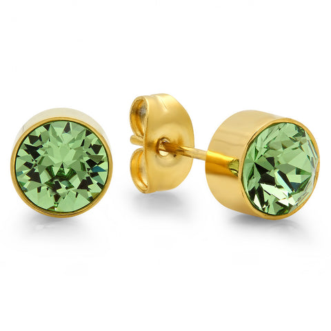 18k Gold Plated Stainless Steel Birthstone (August) Earring Studs
