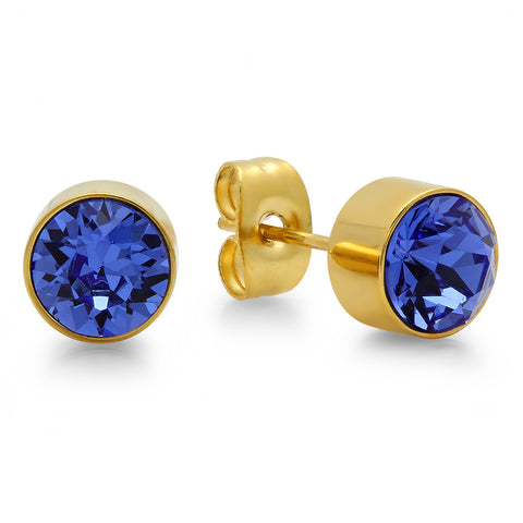18k Gold Plated Stainless Steel Birthstone (September) Earring Studs