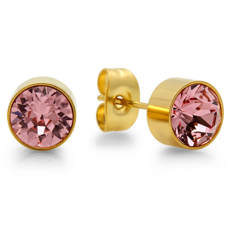 18k Gold Plated Stainless Steel Birthstone (October) Earring Studs