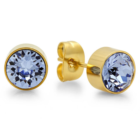 18k Gold Plated Stainless Steel Birthstone (December) Earring Studs