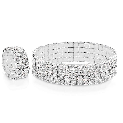 Steeltime White CZ Stones Alloy Stretch Bracelet and Ring Set