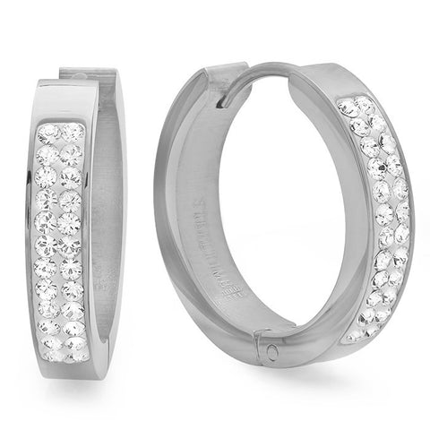 Ladies Stainless Steel Huggie Earrings with Swaroski Crystals 21mm