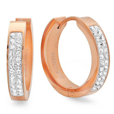 Ladies 18 Kt Rose Gold Plated Huggie Earrings with Swarovski Crystals 21mm