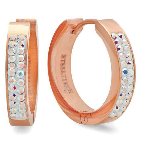 Ladies 18 Kt Rose Gold Plated Huggie Earrings with Swarovski Crystals With Colors 21mm