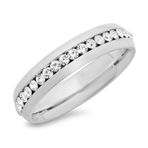 Ladies Stainless Steel Eternity CZ Band Ring