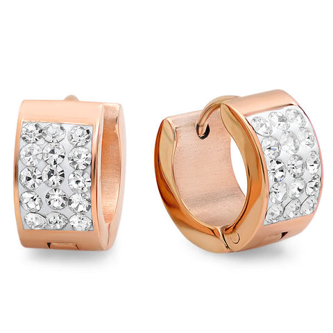 Ladies 18kt Rose Gold Plated Stainless Steel Huggies Earrings 12mm