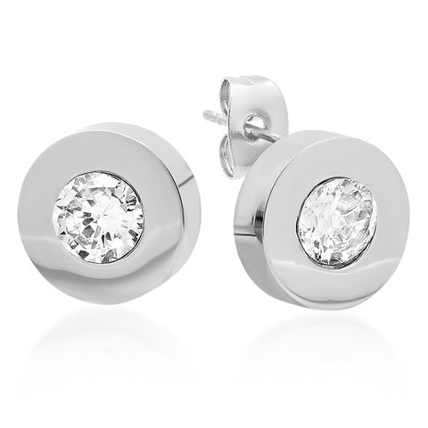 Steeltime Stainless Steel Stud Earrings With SW Stones