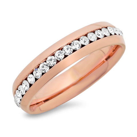 Ladies 18kt Rose Gold Plated Stainless Steel Ring With CZ Stones