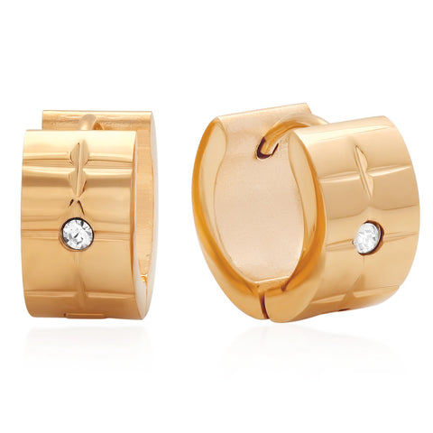 18kt Rose Gold Plated Stainless Steel Huggie Earrings with SW Stones