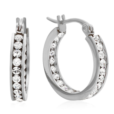 Stainless Steel Hoop Earrings Layered With SW Stones
