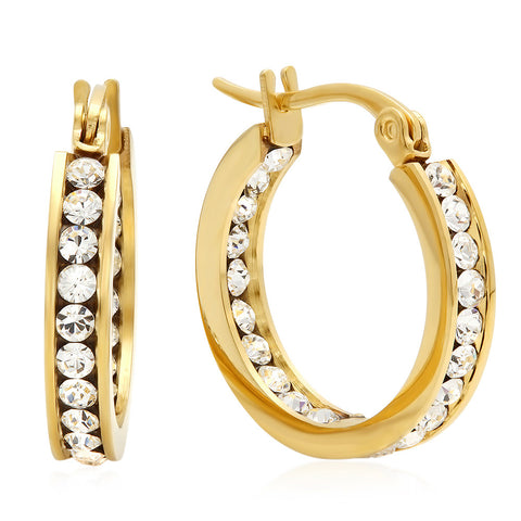 18kt Gold Plated Stainless Steel Hoop Earrings Layered With SW Stones