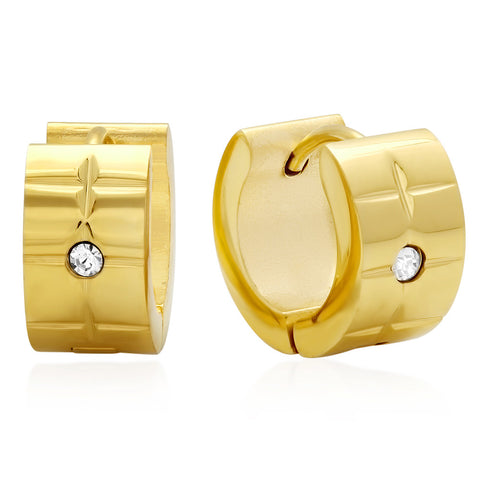 18kt Gold Plated Stainless Steel Huggie Earrings with SW stones