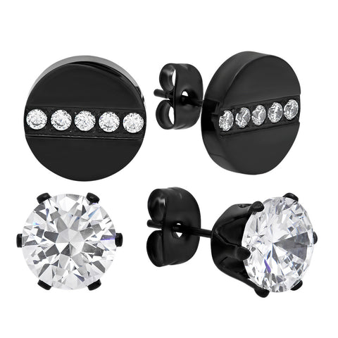 Black IP Stainless Steel 2 Set Stud Earrings with CZ Stones