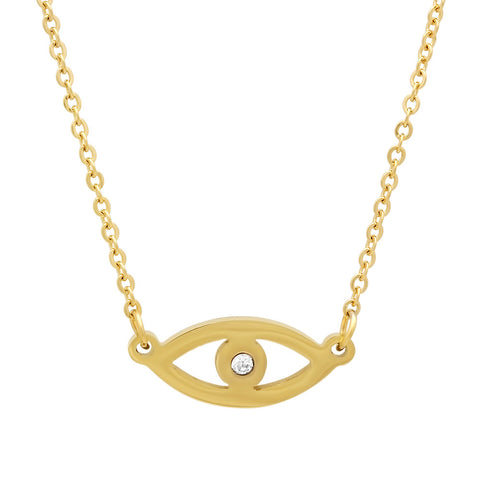 18kt Gold Plated Stainless Steel Necklace With Eye Design and CZ Stone