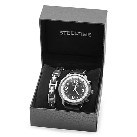 Men's Two-Tone Bracelet / Watch Set
