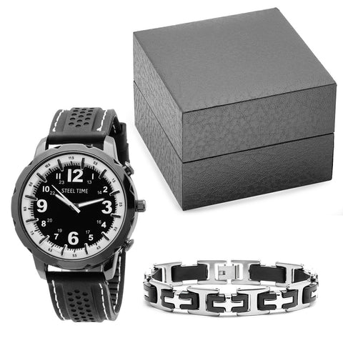 Black Rubber Watch and Stainless Steel Black Rubber Bracelet Box Set