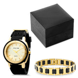 Black Rubber Watch and 18k Gold Plated Stainless Steel Black Rubber Bracelet Box Set