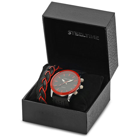 Black and Red Watch and Bracelet Box Set