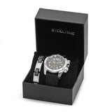 Silvertoned and Black Rubber Watch and Bracelet Box Set