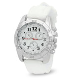 Stainless Steel Watch with White Band and Bracelet Set