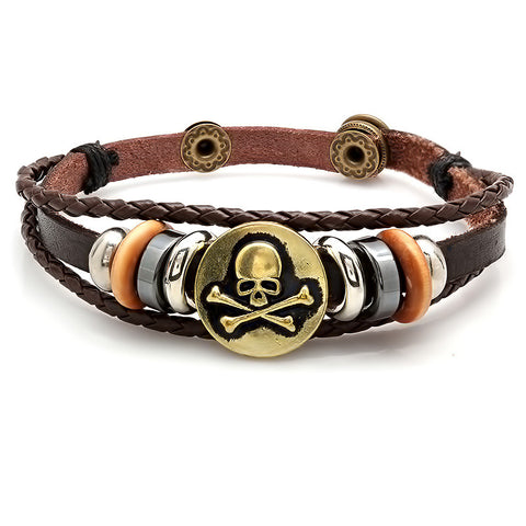 Men's Simulated Leather and Alloy Bracelet with Skull Accent