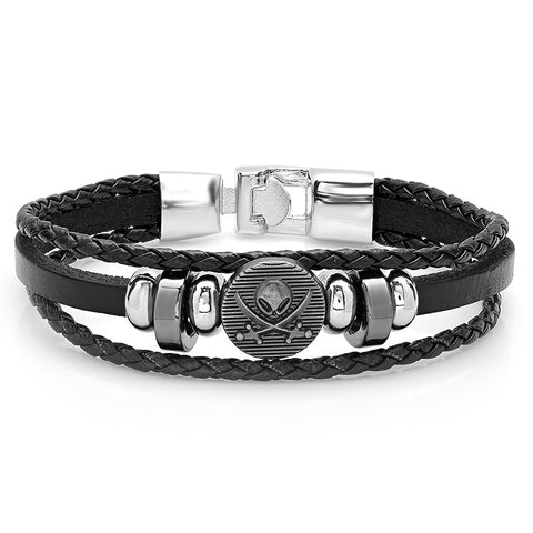 Men's Simulated Leather Bracelet with Alloy Skull Accents