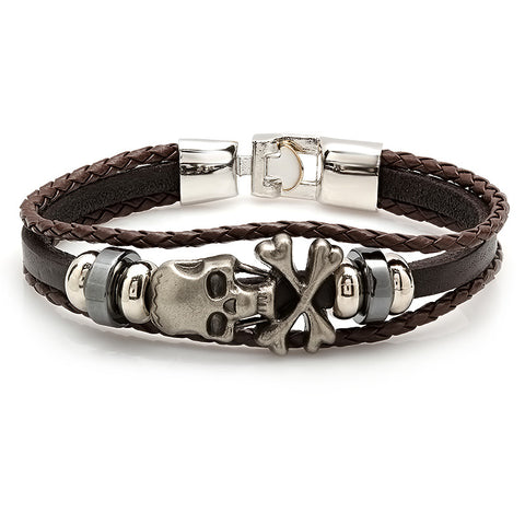 Men's Brown Simulated Leather Bracelet With Alloy Skull Accents